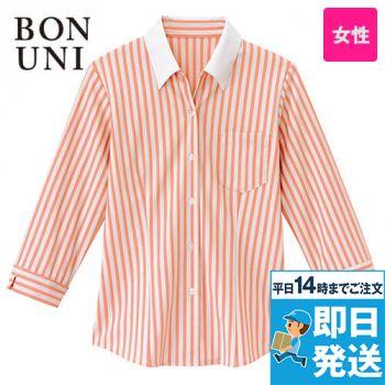 24241 BONUNI(ボストン商会) ベルカラーシャツ/七分袖(女性用) ストライプ