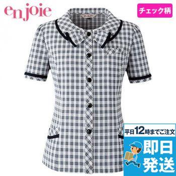 en joie(アンジョア) 26350 リボンモチーフの襟が大人かわいいチェック柄のオーバーブラウス 93-26350