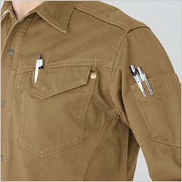 左胸 ペンさし 左袖 マジックテープ付きポケット