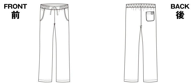 5018SC FOLK(フォーク) パントン メンズストレートパンツ 細身 総ゴムのハンガーイラスト・線画