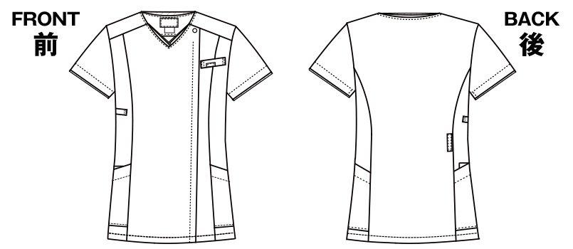 7022SC FOLK(フォーク) レディス ジップスクラブのハンガーイラスト・線画