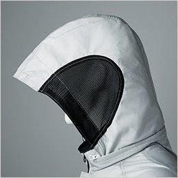 フードサイドは通気性の良いメッシュ素材を採用