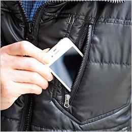 左胸 スマートフォン対応ファスナーポケット