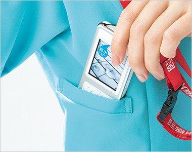 右胸 重みを分散する独自設計のPHS収納ポケット