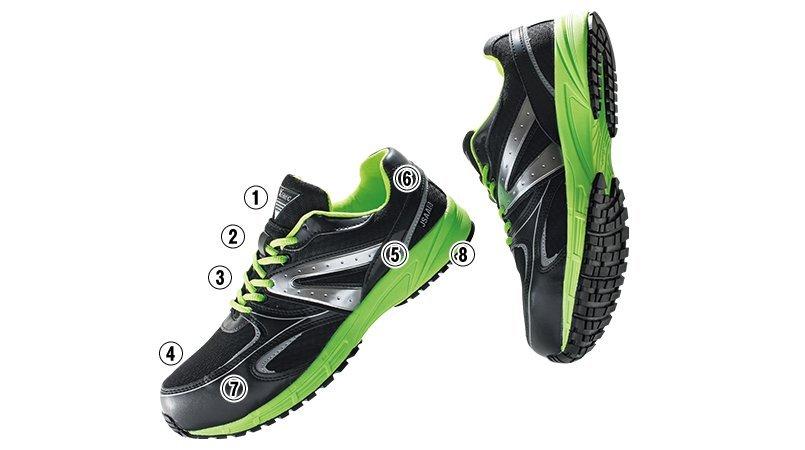 ジーベック 85130蛍光めちゃ安全靴 樹脂先芯 超軽量600gのこだわりポイント