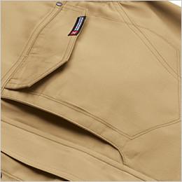 左胸 フラップポケットとタテ型ラクラク収納ポケット