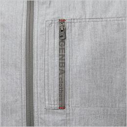 左胸 プリントファスナー仕様のポケット