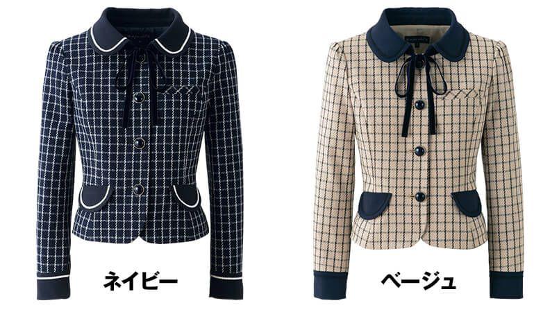 en joie(アンジョア) 81630 [秋冬用]まるいデザイン襟とフラップポケットがかわいいジャケット(リボン付) チェック 色展開