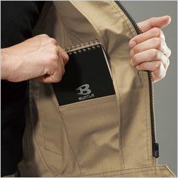 バートル 7051 ストレッチ高密度ツイル長袖ジャケット(男女兼用) ネームホルダーループ