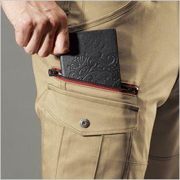 バートル 7052 ストレッチ高密度ツイルカーゴパンツ(男女兼用) 長財布レベルブック収納ポケット
