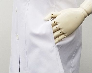 MZ-0057 ミズノ(mizuno) 七分袖 レディースドクターコート・シングル(女性用) ポケット付き