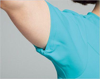 HI704 ワコール レディスジップスクラブ(女性用) 袖の開きをセーブする袖下ゴム。腕を上げた際の袖口の開きすぎを抑えます。