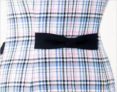 en joie(アンジョア) 26650 ラウンドカラーですっきりしたオーバーブラウス チェック柄 ポケットに合わせた、リボンのベルトがアクセントのバックスタイル