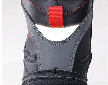 ジーベック 85205 ブーツタイプセフティシューズ 樹脂先芯 視認性を高める反射材を使用。夜間や暗所での安全性を高めています。