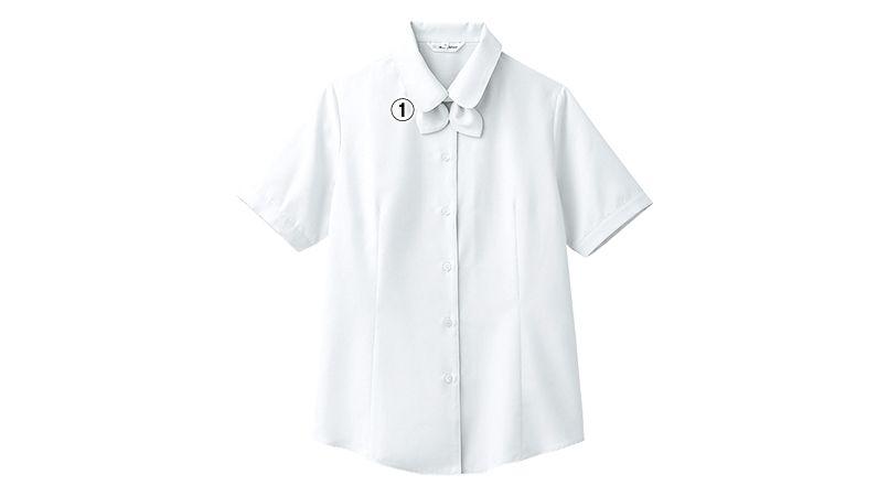 BL-6815 チトセ(アルベ) [通年]ブラウス/半袖 リボンタイ付き(女性用) 商品詳細・こだわりPOINT
