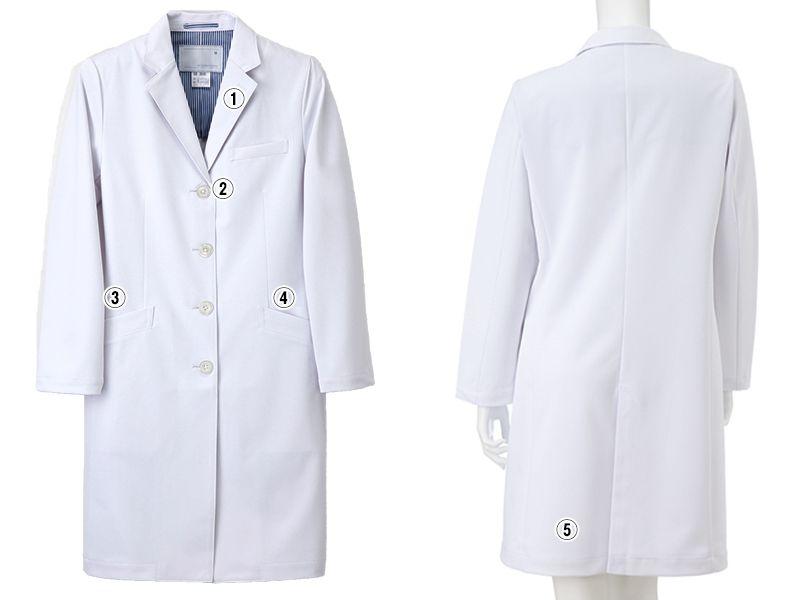 SD3040 ナガイレーベン(nagaileben) シングル診察衣長袖(女性用) 商品詳細・こだわりPOINT