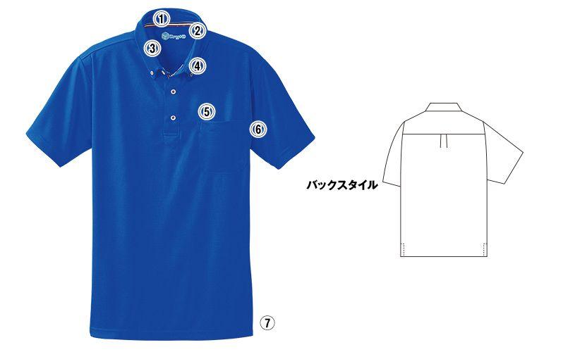 50391 桑和 ドライ ボタンダウンポロシャツ(男女兼用) 商品詳細・こだわりPOINT