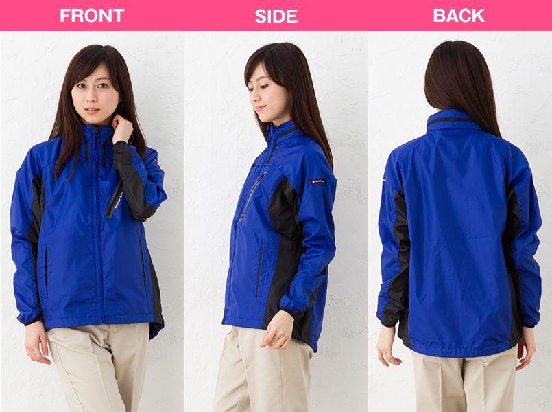 AZ10301 アイトス タルテックス フードインジャケット(薄地素材)(男女兼用) モデル前後(レディース)