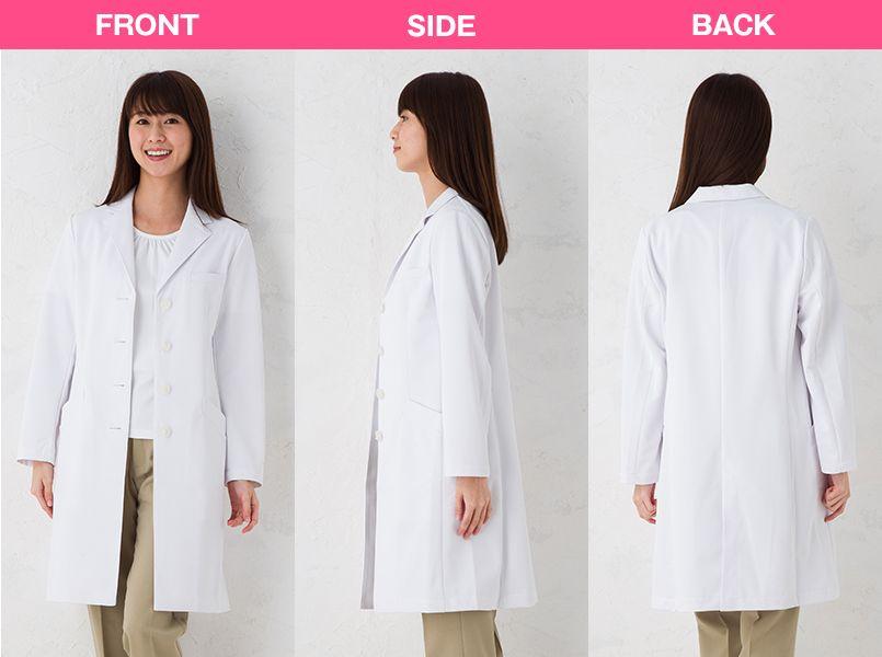 SD3040 ナガイレーベン(nagaileben) シングル診察衣長袖(女性用) モデル前後(レディース)