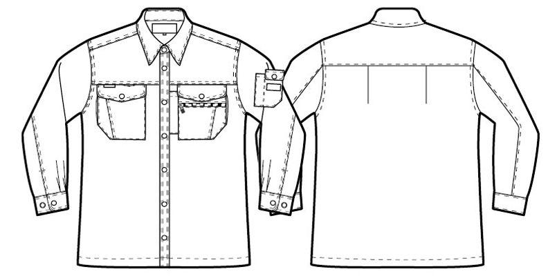 AZ3235 アイトススタンダード 帯電防止ライトツイル長袖シャツ ハンガーイラスト・線画