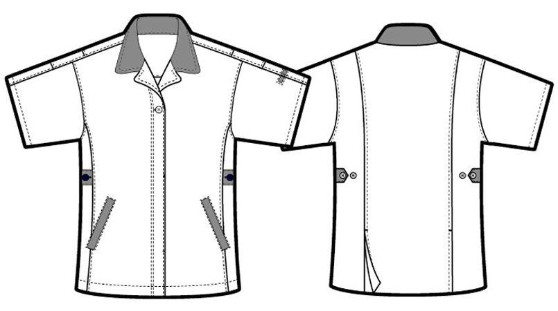 AZ5328 アイトス レディースムービンカット 半袖スモック ハンガーイラスト・線画