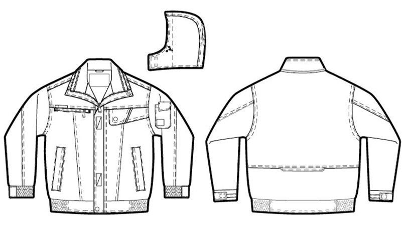 AZ8561 アイトス 防風防寒ブルゾン[フード付き・取り外し可能](男女兼用) ハンガーイラスト・線画