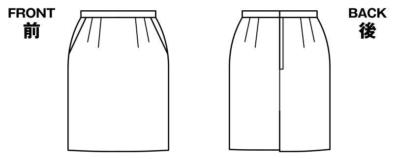 BONMAX AS2257 [通年]トリクシオンヘリンボーン タイトスカート 無地 ハンガーイラスト・線画