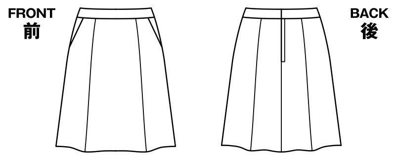 BONMAX AS2281 [通年]インプレス フレアースカート 無地 ハンガーイラスト・線画