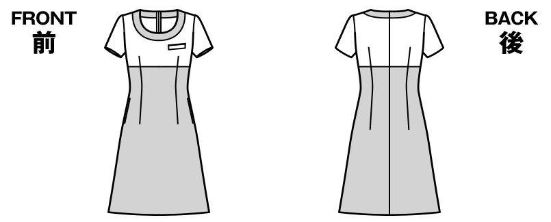 [在庫限り/返品交換不可]LO5706 BONMAX/グラデート ワンピース(女性用) ジャカード柄 ハンガーイラスト・線画