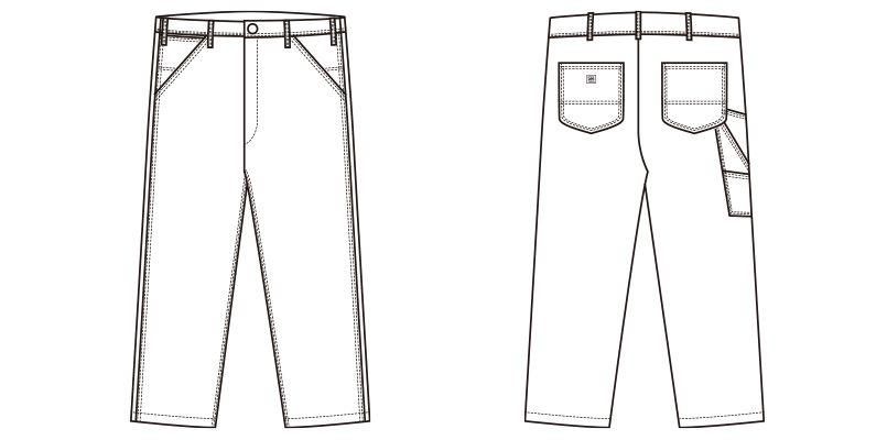 LWP66003 Lee ペインターパンツ(男性用) ハンガーイラスト・線画