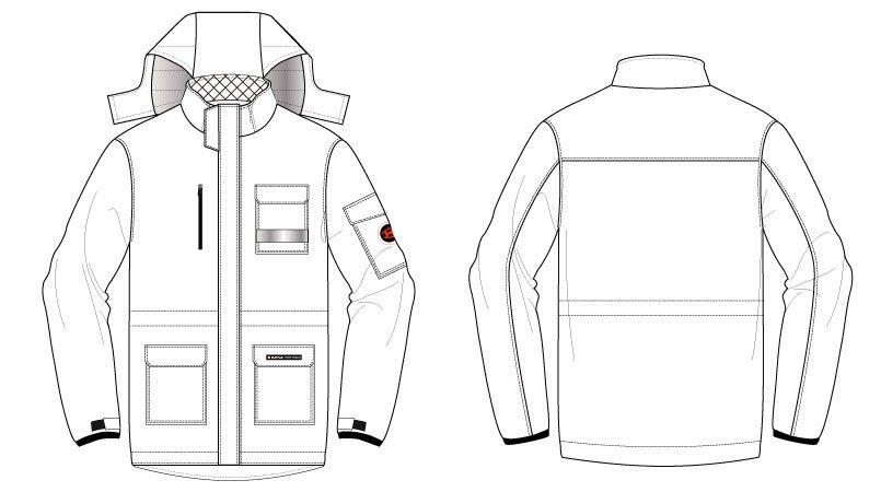 バートル 7211 [秋冬用]サーモトロン防寒コート(大型フード付)(男女兼用) ハンガーイラスト・線画