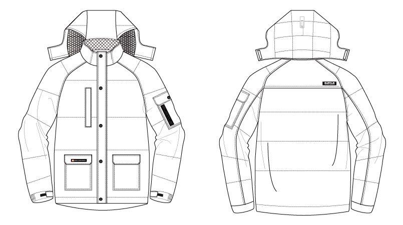 バートル 7510 リップクロス防寒ジャケット(大型フード付)(男女兼用) ハンガーイラスト・線画