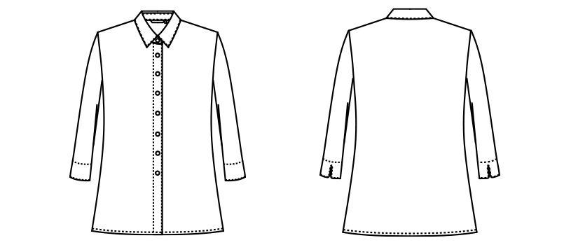 AR1529 アルファピア 七分袖シャツ ハンガーイラスト・線画