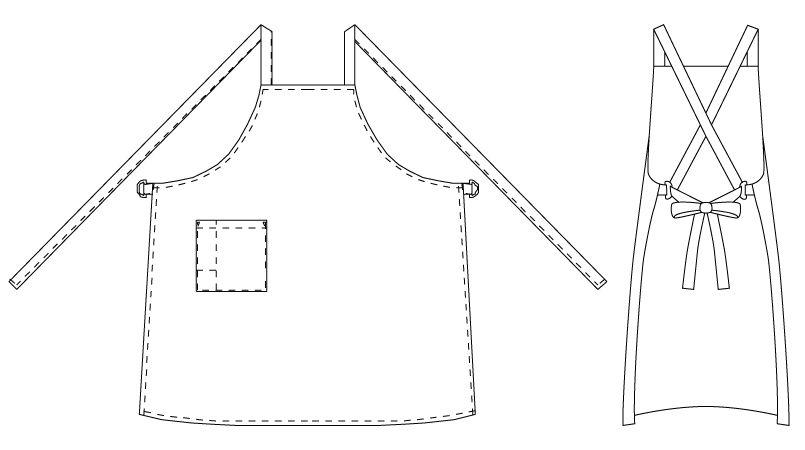 T-63 チトセ(アルベ) 胸当てエプロン 背中X型(男女兼用) ハンガーイラスト・線画