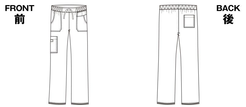 5020SC FOLK(フォーク)×Dickies ストレートパンツ(男女兼用) ハンガーイラスト・線画
