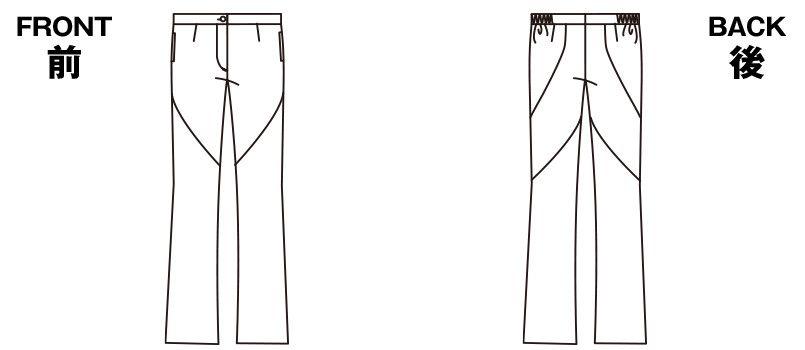 HI300 ワコール レディースブーツカットパンツ 股下フリー(女性用) ハンガーイラスト・線画