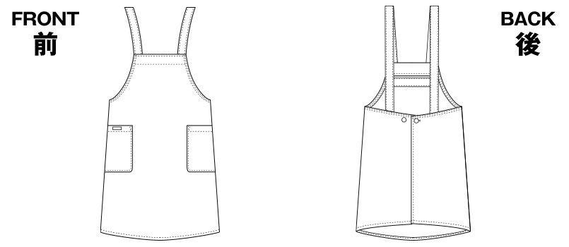 HI501 ワコール 胸当てレディースエプロン(女性用) ハンガーイラスト・線画