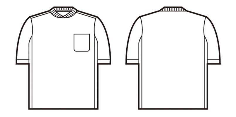 47684 自重堂 吸汗速乾半袖Tシャツ (胸ポケット有り) ハンガーイラスト・線画