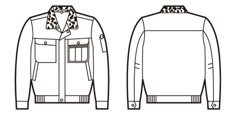 48090 自重堂 綿100%防寒ブルゾン(裏地フリース・フード付) ハンガーイラスト・線画