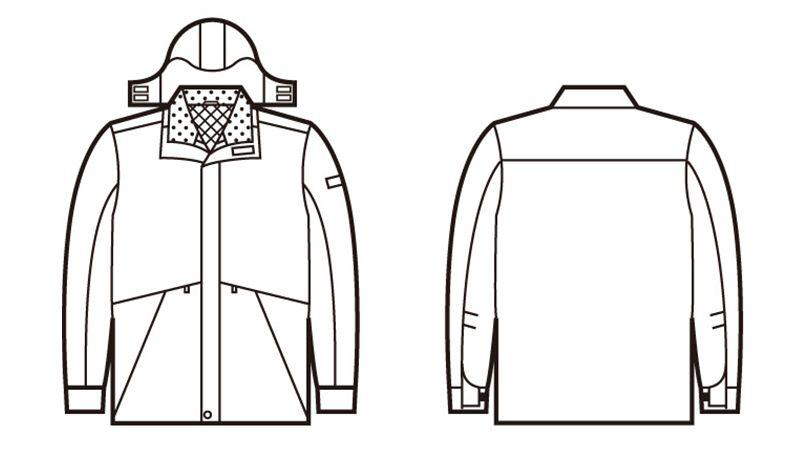 自重堂 48343 シンサレート防水防寒コート(フード付き・取り外し可能) ハンガーイラスト・線画