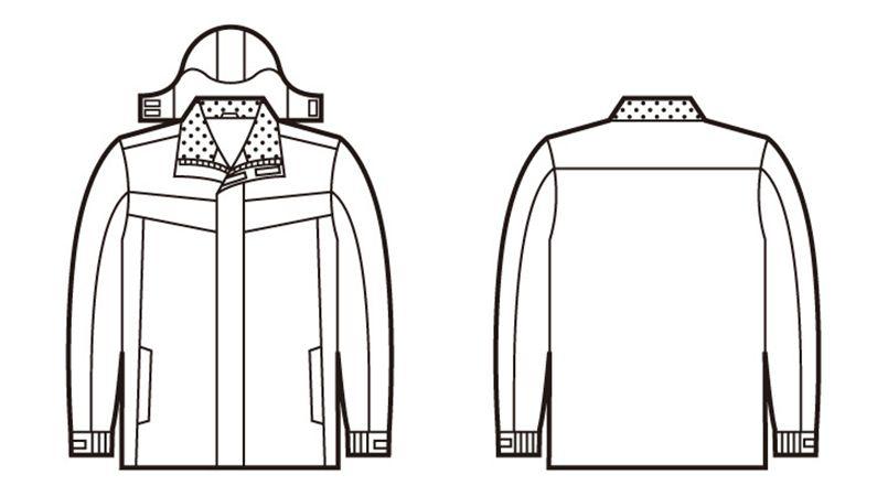 自重堂 48463 防水防寒ハーフコート(フード付き・取り外し可能) ハンガーイラスト・線画