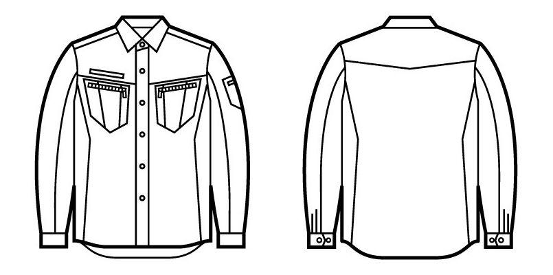 自重堂 51804 [秋冬用]JAWIN 長袖シャツ(年間定番生地使用)(新庄モデル) ハンガーイラスト・線画