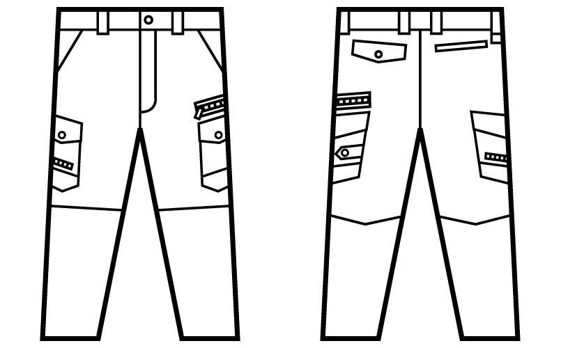 自重堂JAWIN 52102 ノータックカーゴパンツ(新庄モデル) 裾上げNG ハンガーイラスト・線画