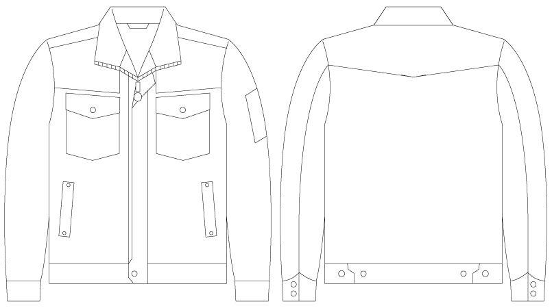 自重堂JAWIN 55000 [春夏用]長袖ジャンパー(綿100%) ハンガーイラスト・線画