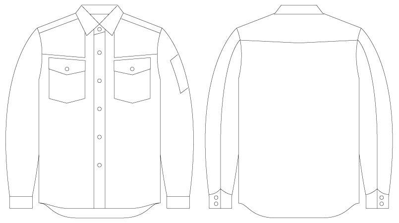 55004 自重堂JAWIN [春夏用]長袖シャツ(綿100%) ハンガーイラスト・線画