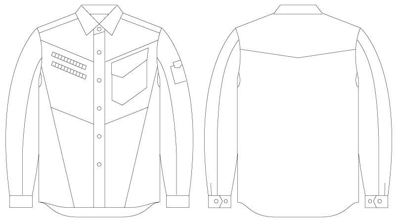 自重堂 55404 [春夏用]JAWIN 長袖シャツ(迷彩柄) ハンガーイラスト・線画