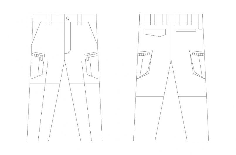 55802 自重堂JAWIN [春夏用]ノータックカーゴパンツ(新庄モデル) ハンガーイラスト・線画