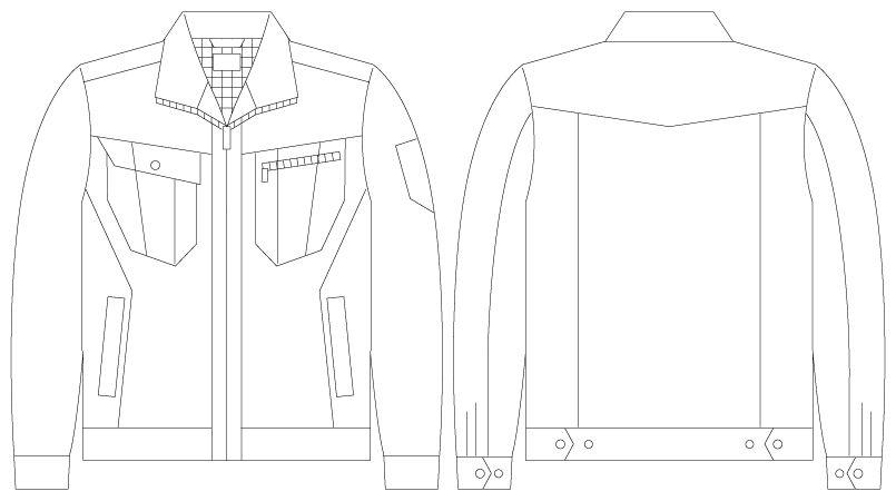 自重堂 55900 [春夏用]JAWIN 長袖ジャンパー(綿100%)(新庄モデル) ハンガーイラスト・線画