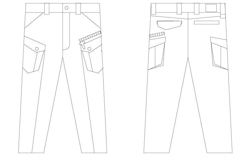 自重堂JAWIN 56402 [春夏用]ノータックカーゴパンツ(新庄モデル) ハンガーイラスト・線画