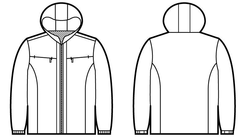 自重堂JAWIN 58133 防寒ショートコート(フード付) ハンガーイラスト・線画